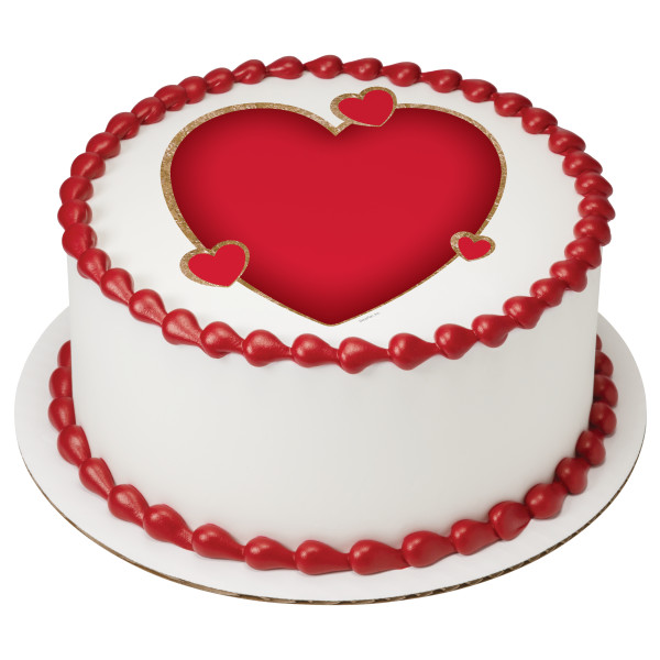 wedding cake photocake 174 hearts cake design decopac 21688
