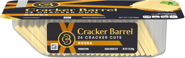 Cracker Barrel Cracker Cuts Natural Gouda Cheese 24 Slices - 7 oz Tray