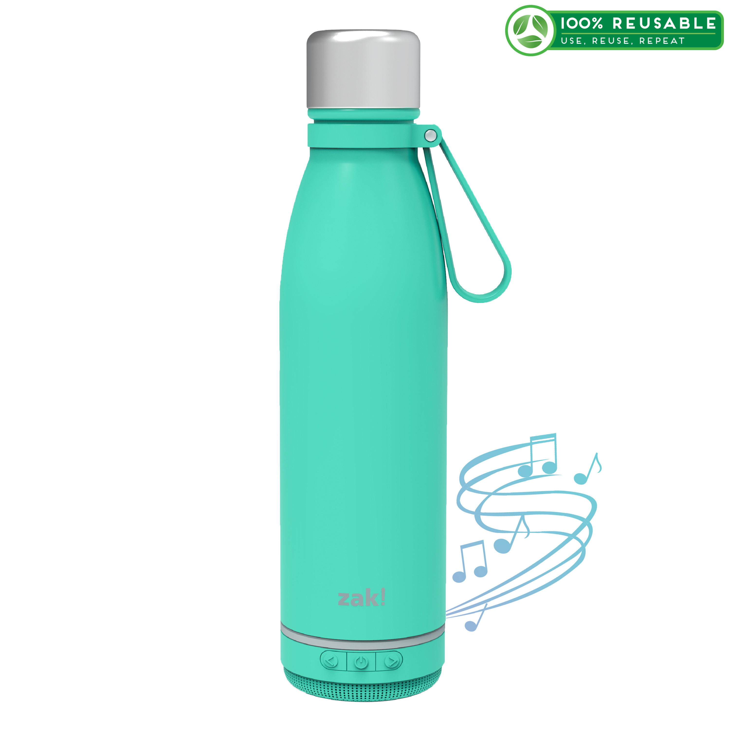 Zak Play 17.5 ounce Stainless Steel Tumbler with Bluetooth Speaker, Teal image