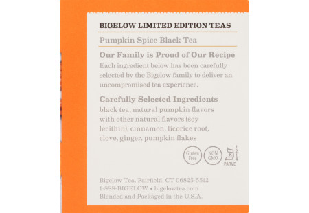 Ingredient panel  of Pumpkin Spice Black Tea box