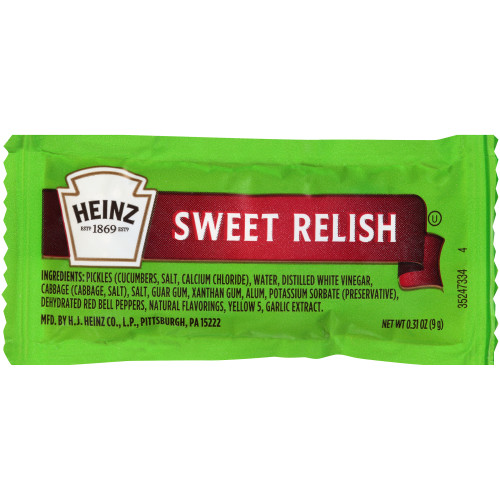 HEINZ Single Serve Relish, 9 gr. Packets (Pack of 200)