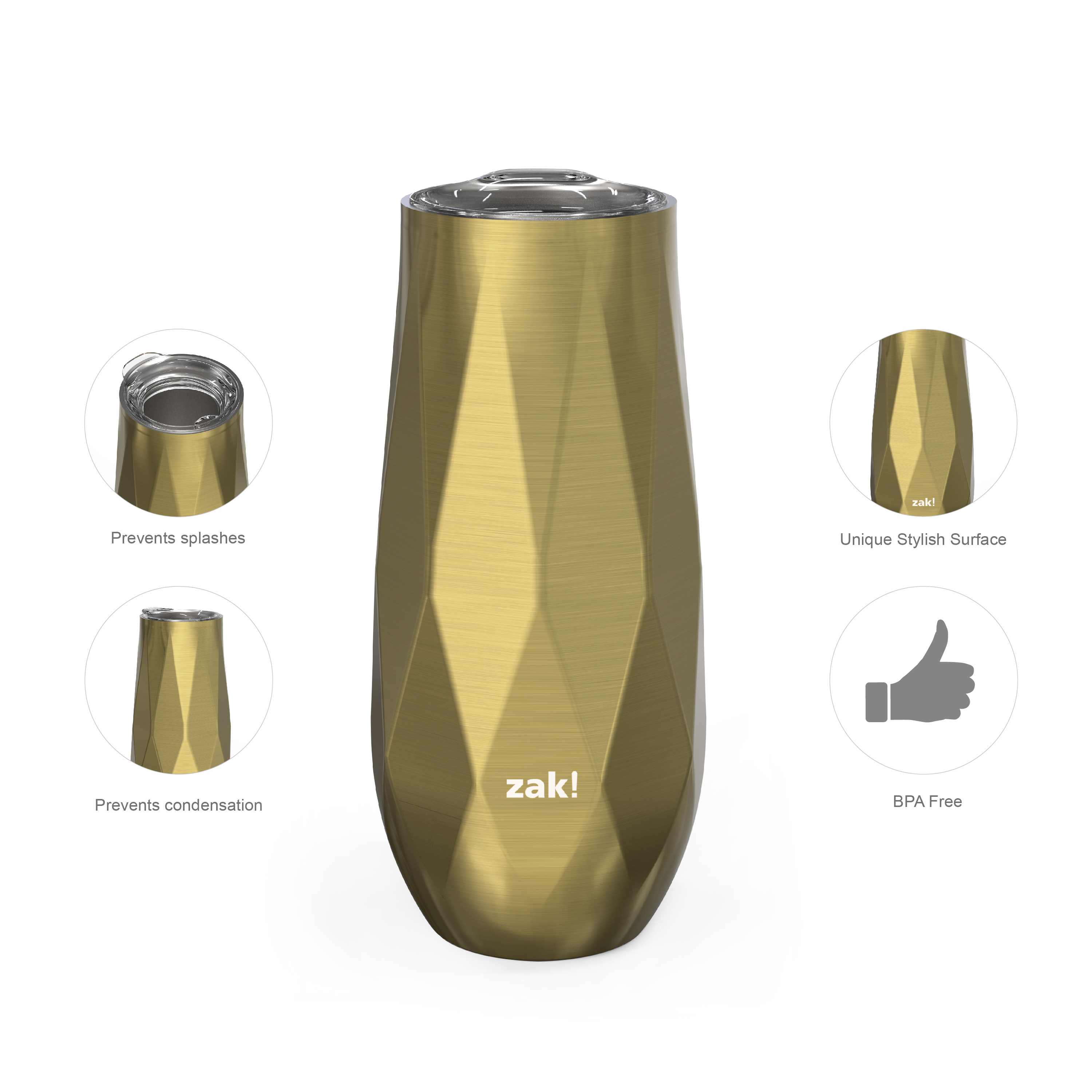 Fractal 9 ounce Vacuum Insulated Stainless Steel Tumbler, Light Gold slideshow image 3
