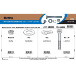 Metric Class 8.8 Hex Cap Screw, Nuts, & Washers Assortment (M22-2.50)