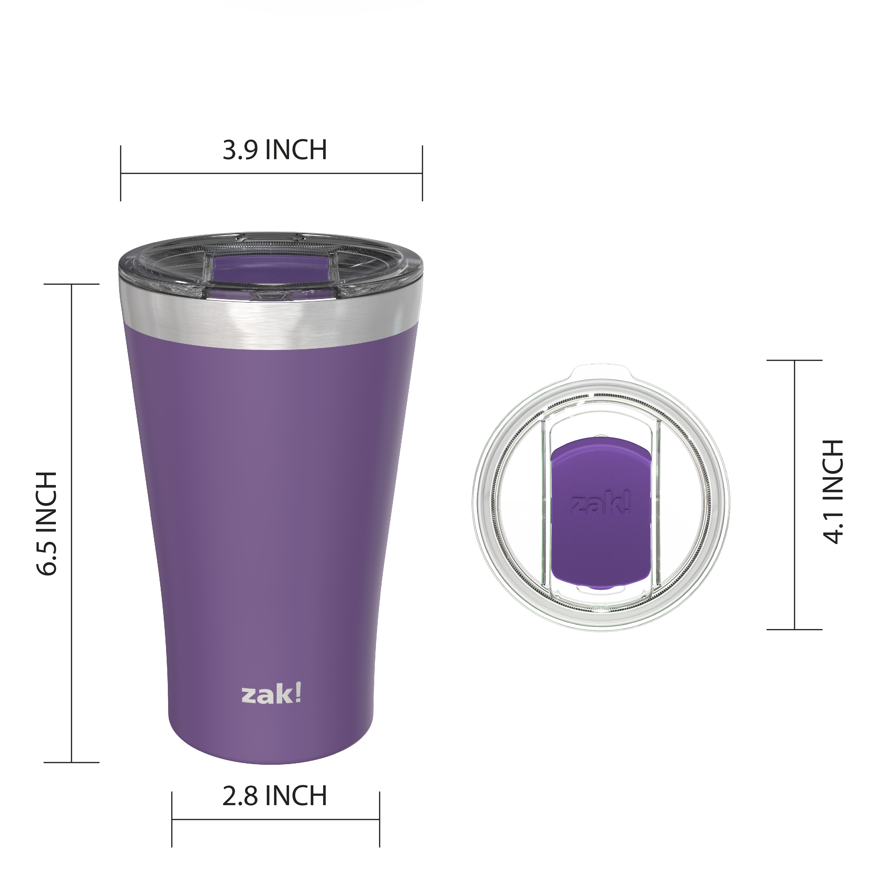 Zak Hydration 20 ounce Reusable Vacuum Insulated Stainless Steel Tumbler with Straw, Viola slideshow image 2