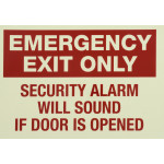 Glow-In-The-Dark Emergency Exit Alarm Sign