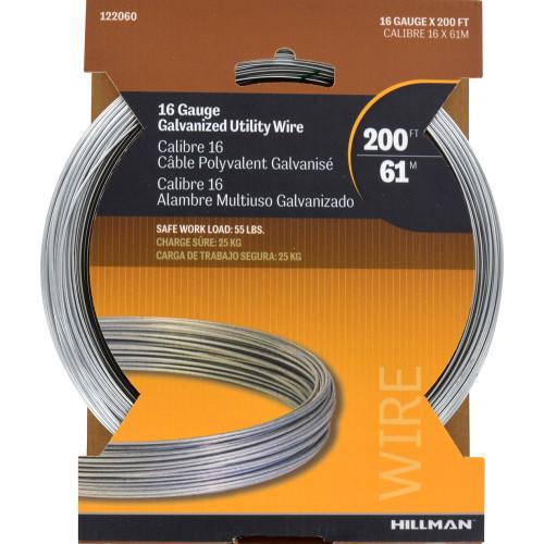 Hillman Galvanized Solid Wire #16 200ft Coil