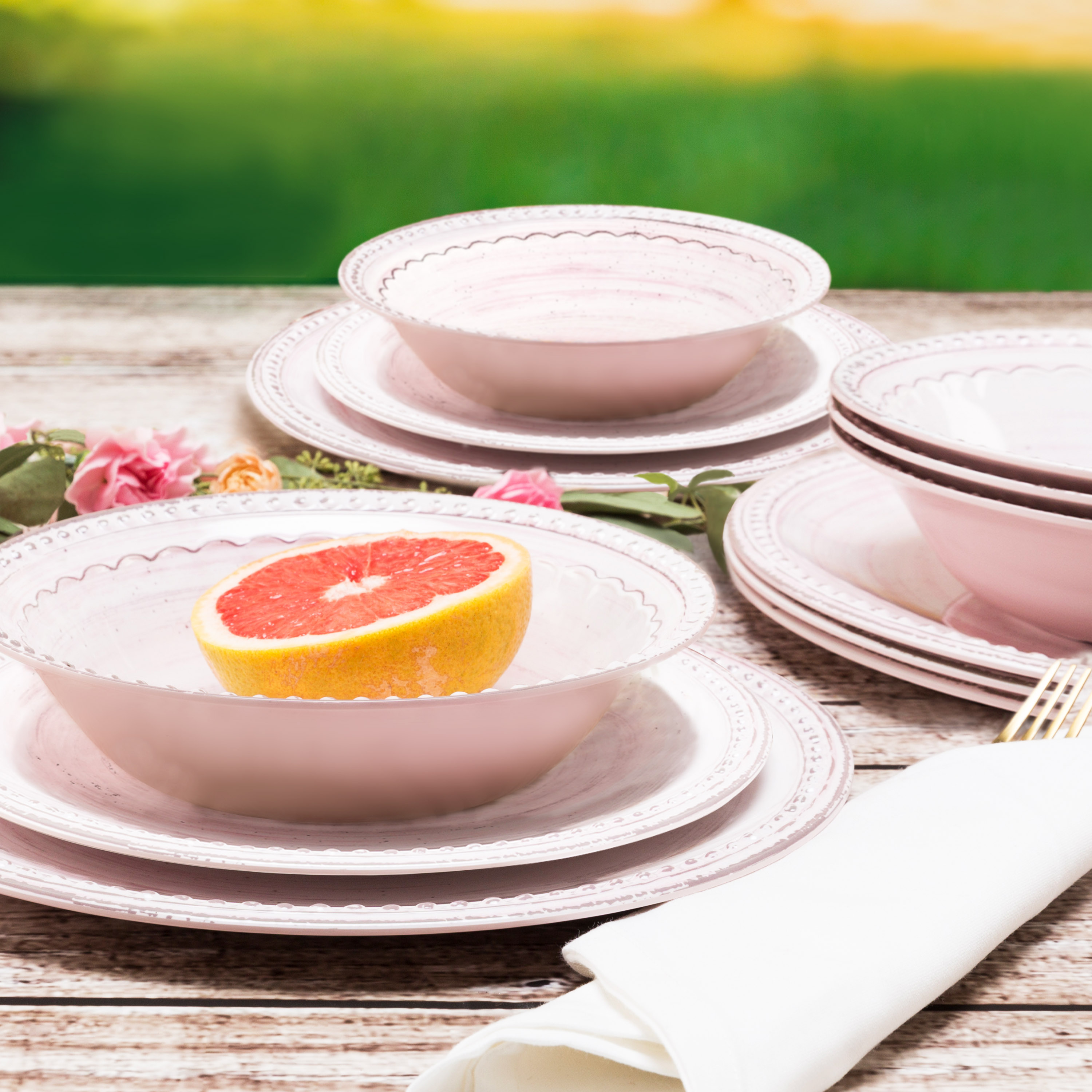 French Country Plate & Bowl Sets, Pink, 12-piece set slideshow image 4