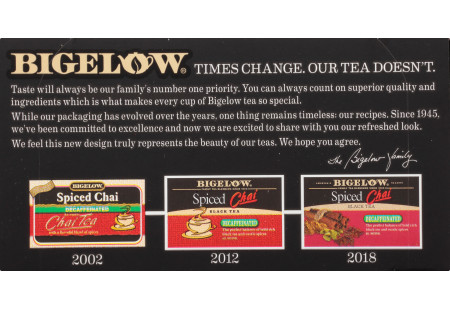 Bigelow Spiced Chai Decaffeinate Tea bag in foil overwrap