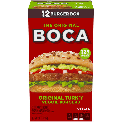 BOCA Original Vegan Veggie Burger 12 ct Box