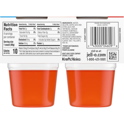 Jell-O Ready To Eat Orange Sugar Free Gelatin, 12.5 oz Sleeve (4 Cups)