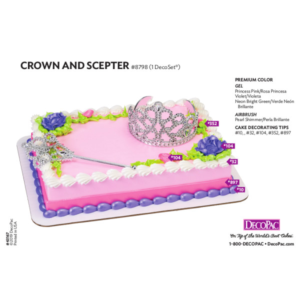 Crown and Scepter Cake Decorating Instruction Card
