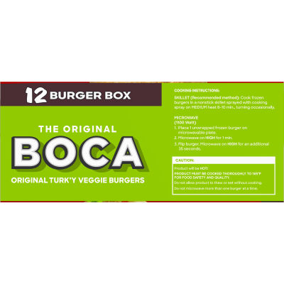 BOCA Original Vegan Veggie Burgers, 12 ct Box