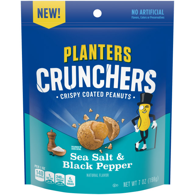 Planters Crunchers Snack Nuts Salt & Pepper 7 oz Bag
