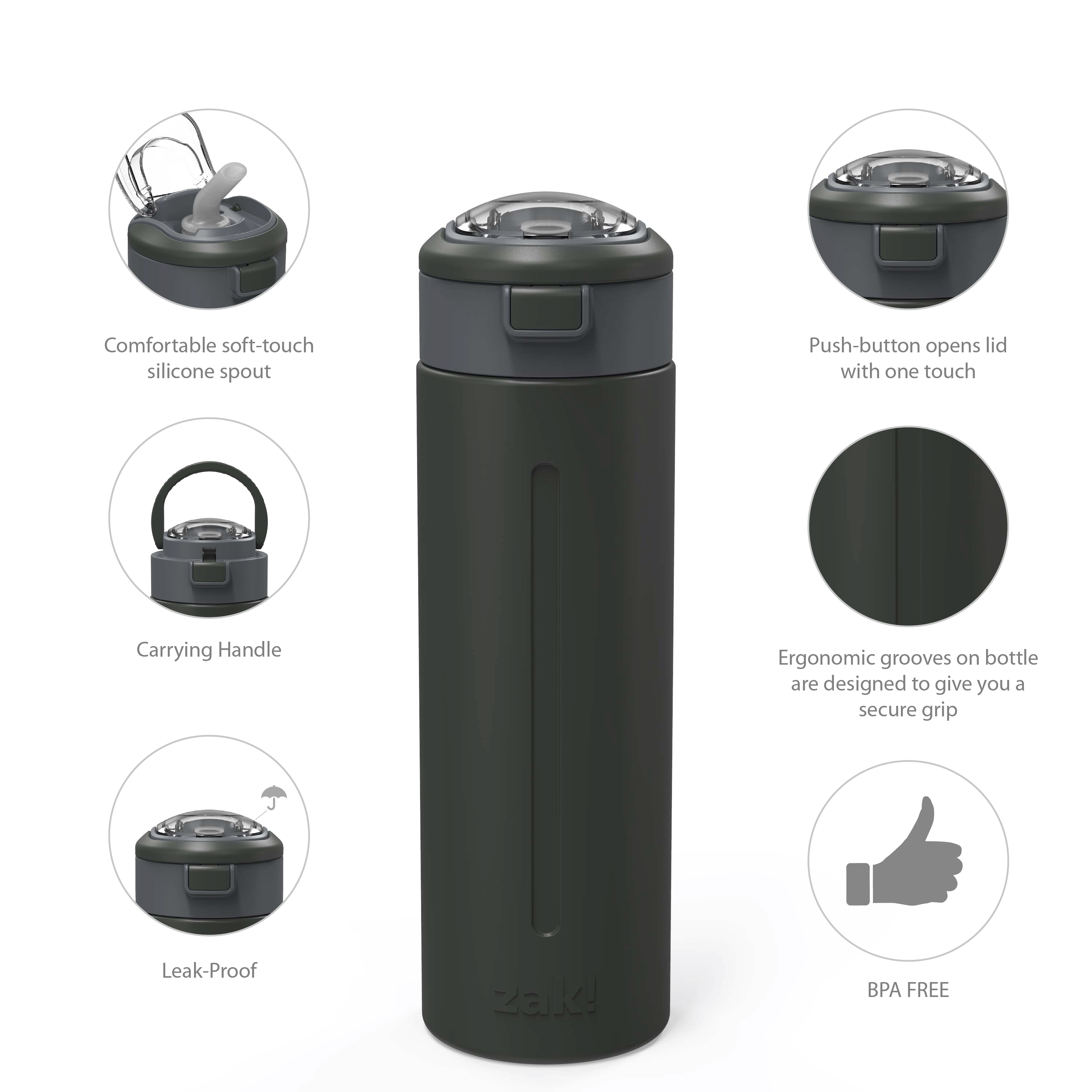 Genesis Vaccum Insulated Stainless Steel Water Bottle, Charcoal slideshow image 5