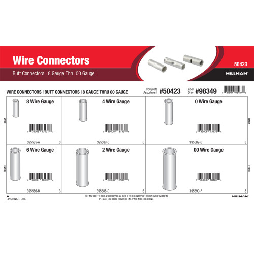 Wire Connectors Assortment (8 Gauge thru 00 Gauge Non-Insulated Butt Connectors)