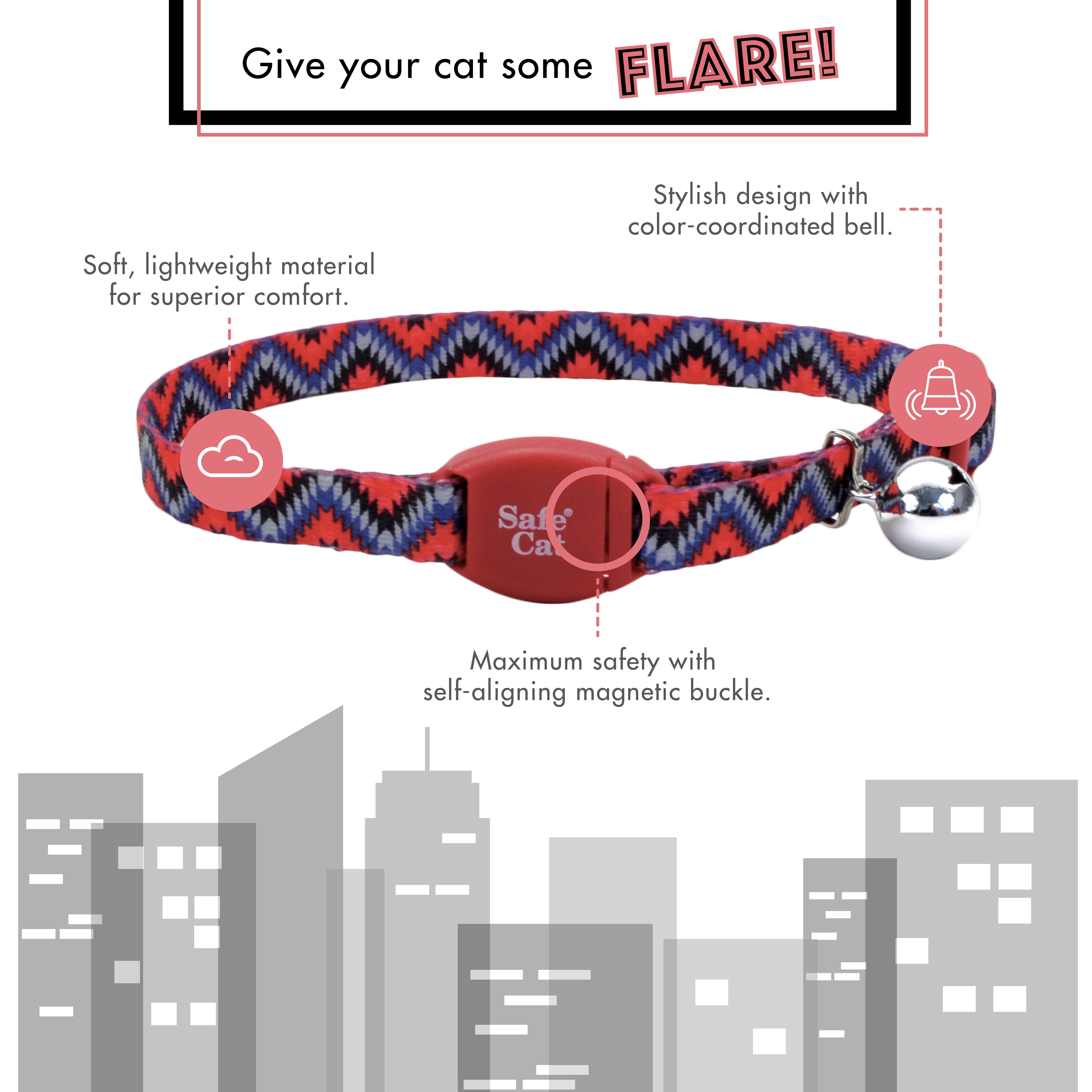 Safe Cat® Adjustable Breakaway Cat Collar with Magnetic Buckle
