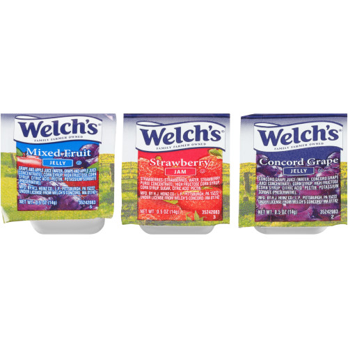 WELCH'S Assortment 2 Jelly & Jam, 0.5 oz. Cups (Pack of 200)