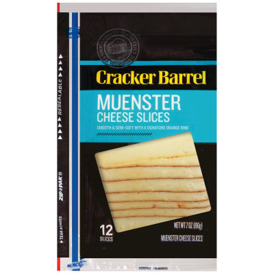 Cracker Barrel Muenster Natural Cheese Slices 12 slices - 7 oz Wrapper