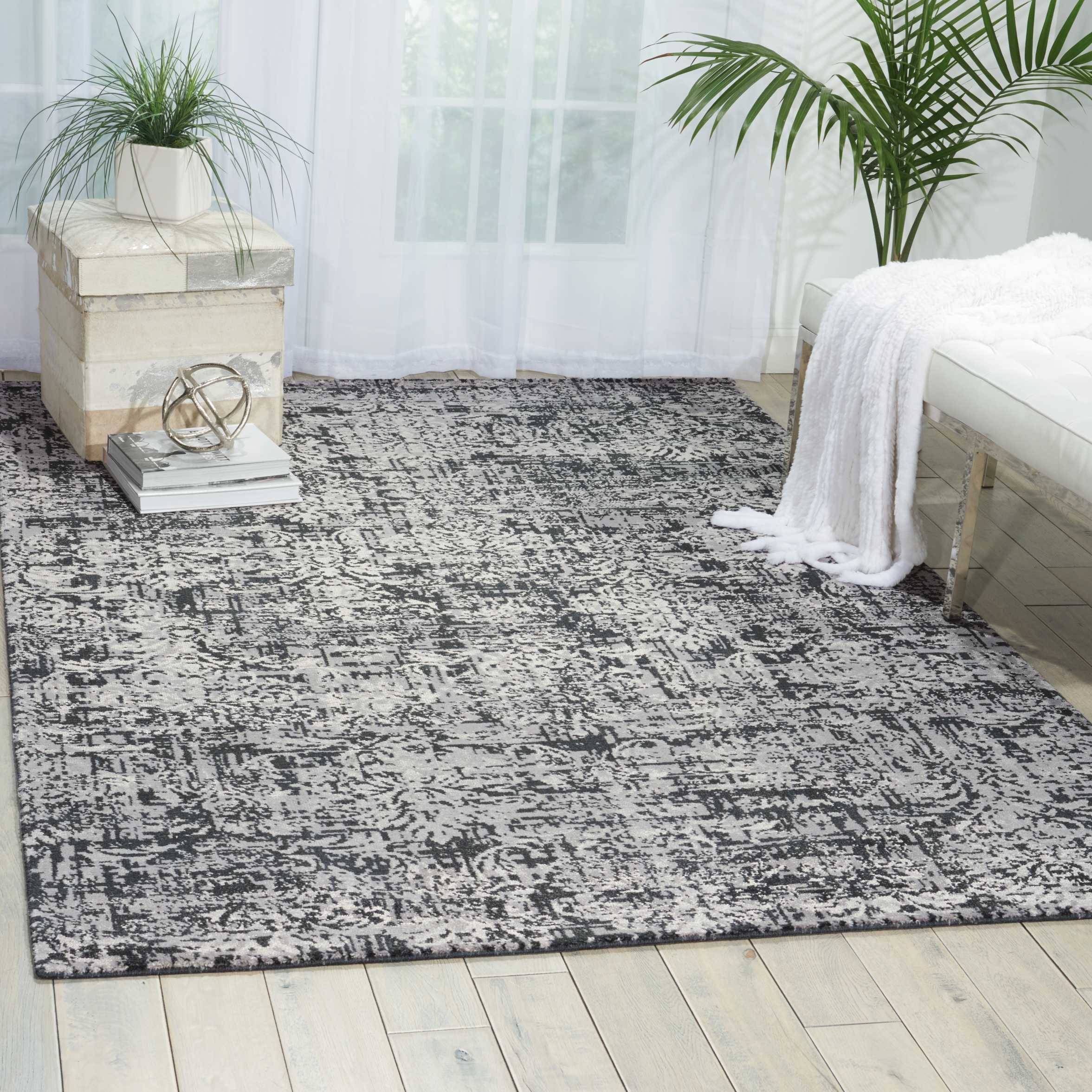 Nourison Twilight Twi04 Black And Grey 8'X10' Large  Rug