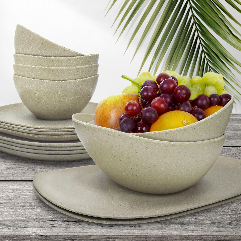 Elements Serving Tray and Bowl Set, White, 4-piece set slideshow image 2