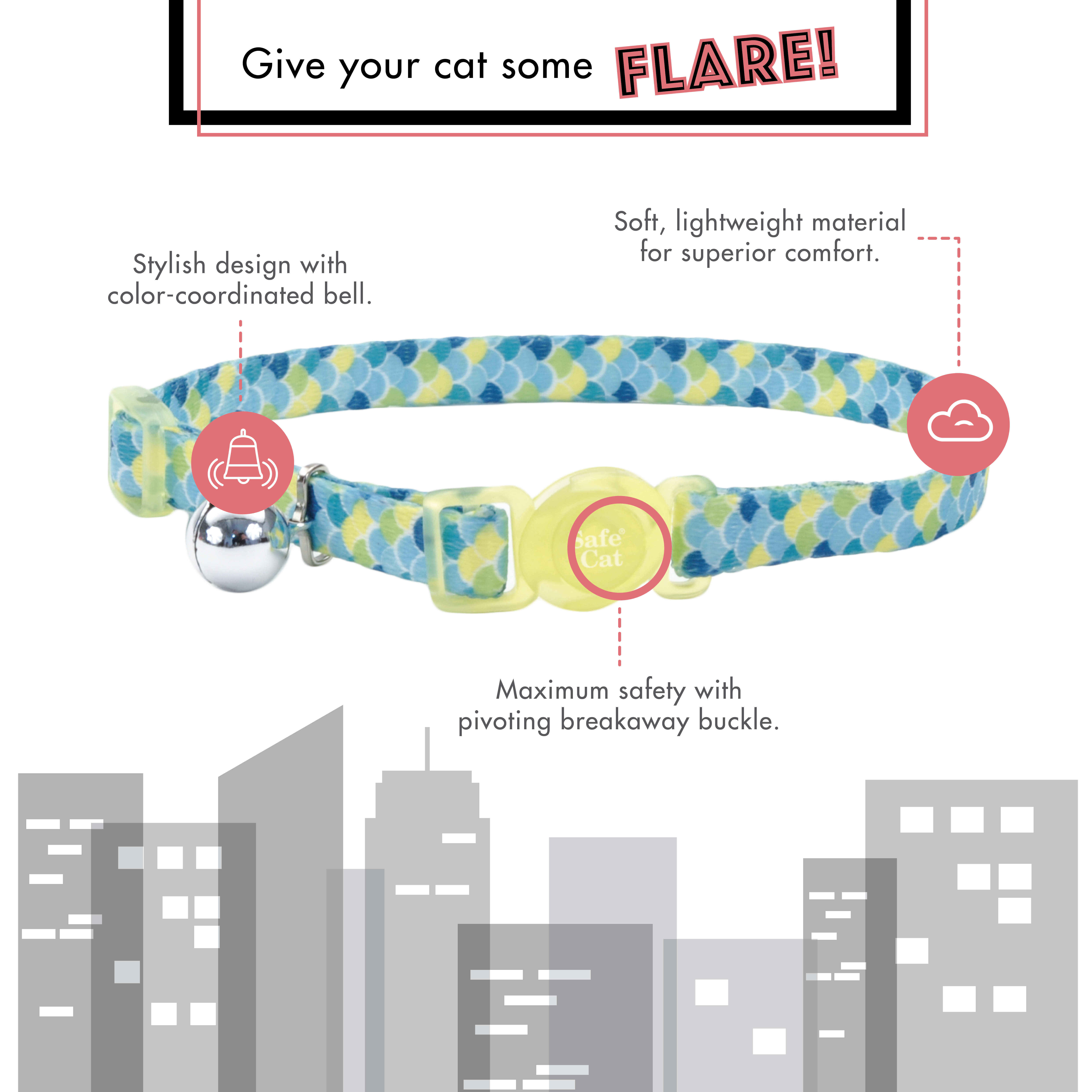 Safe Cat® Fashion Adjustable Breakaway Collar