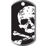 Black with Skull Large Military ID Quick-Tag - Raised Edge