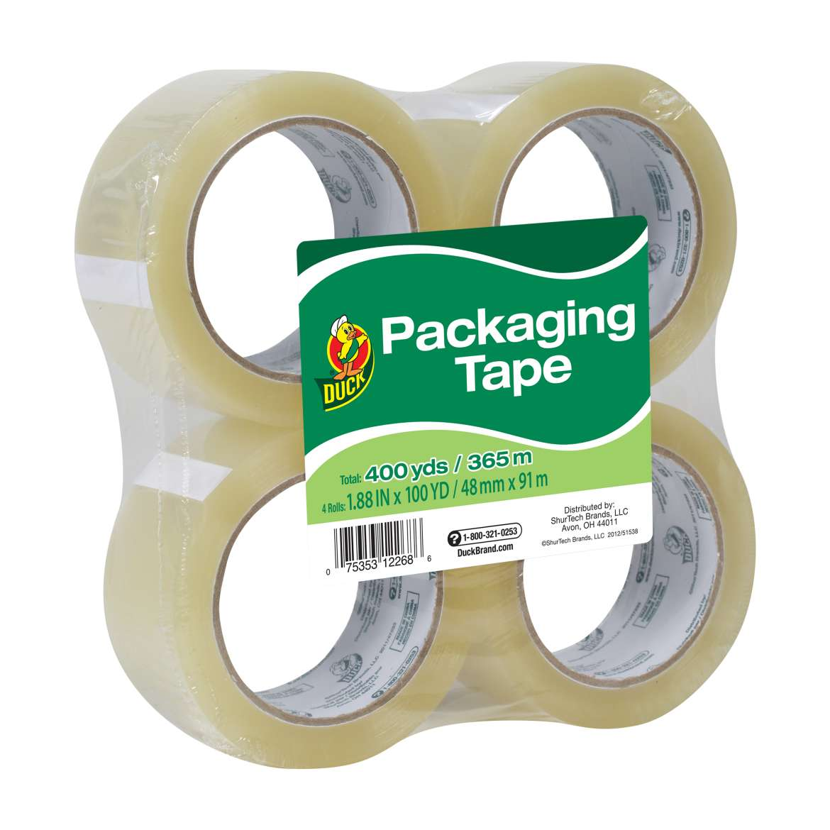Duck® Brand Standard Packaging Tape - Clear, 4 pk, 1.88 in. x 100 yd. Image