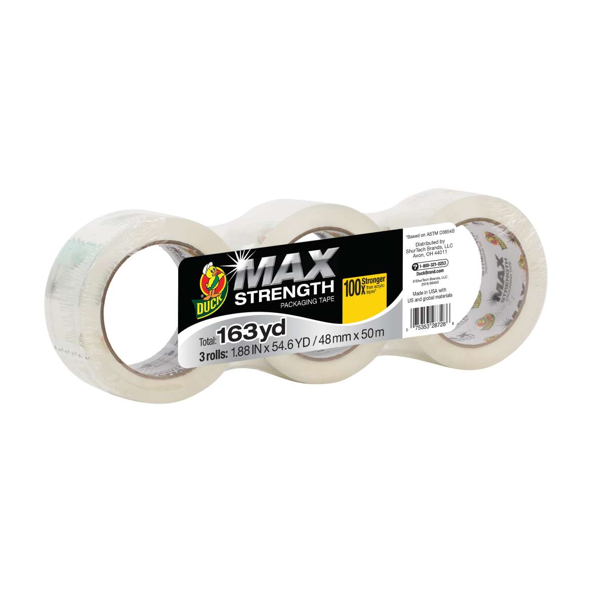 Duck® MAX Strength Packing Tape - Clear, 3 pk, 1.88 in. x 54.6 yd. Image
