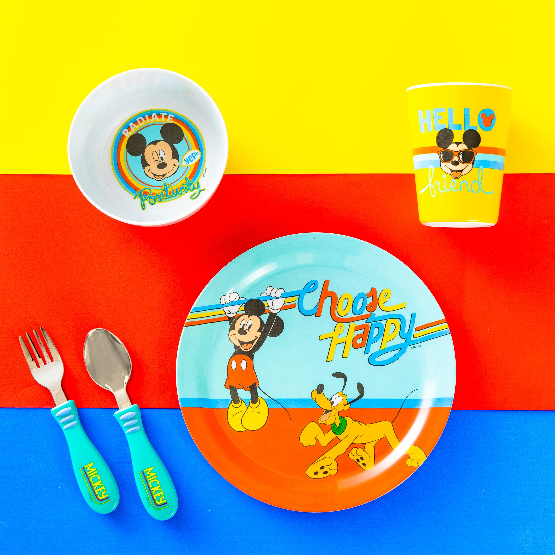 Disney Plate, Bowl, Tumbler and Flatware Set, Rainbow Mickey Mouse, 5-piece set slideshow image 9