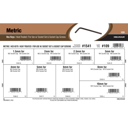 Heat-Treated Metric Hex Keys Assortment (For Use with Socket Set & Socket Cap Screws)