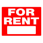 """Red For Rent Sign, 18"""" x 24"""""""