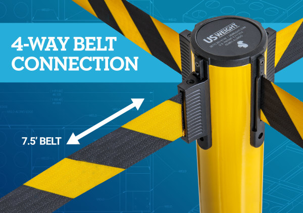 Premium Steel Stanchion - Yellow with CYB belt 7