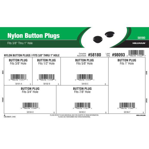 Nylon Button Plugs Assortment (Fits 3/8
