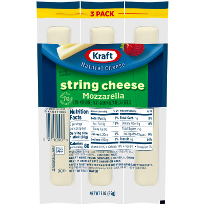 Kraft Natural Cheese Snacks Mozzarella Low-Moisture Part-Skim String Cheese 3 count