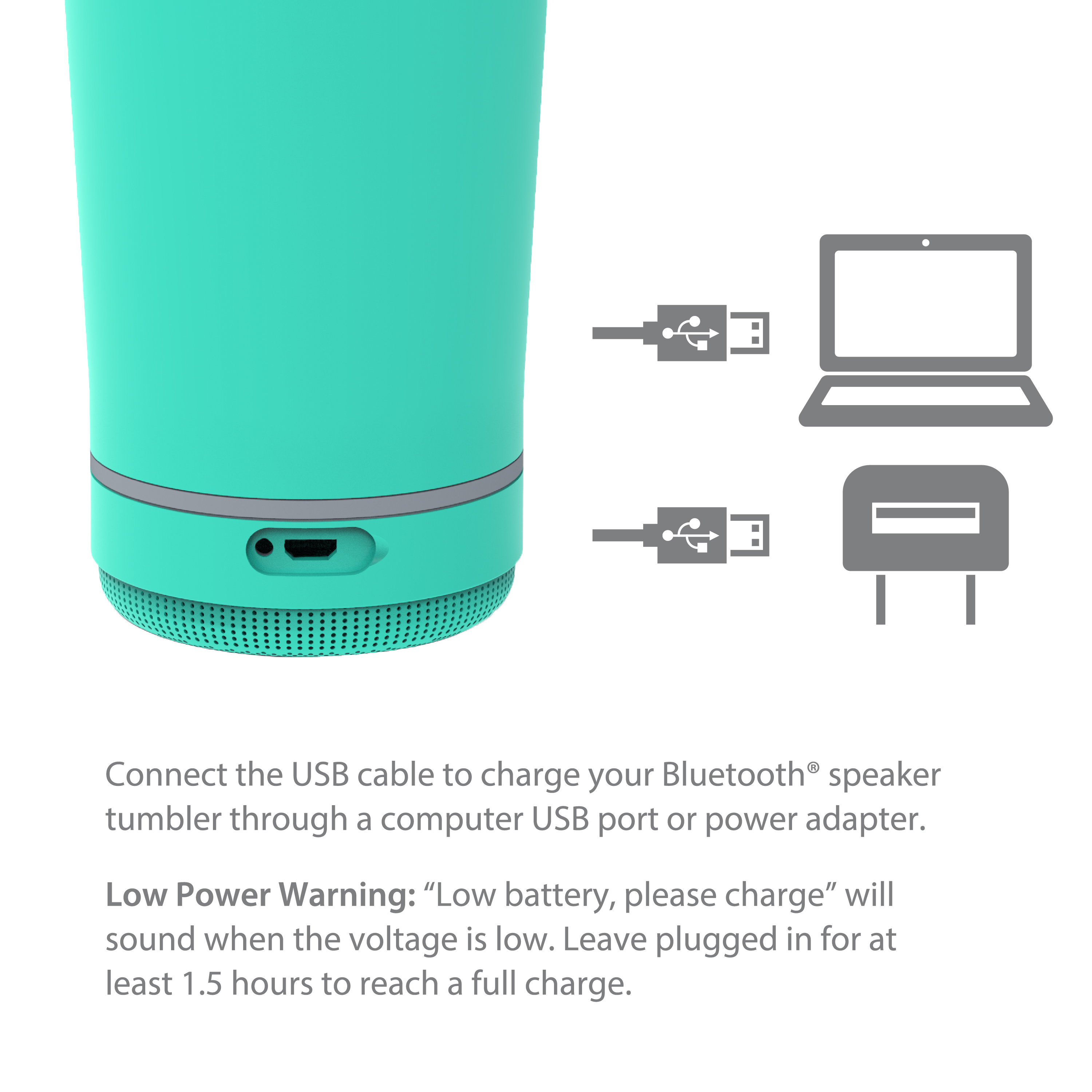Zak Play 18 ounce Stainless Steel Tumbler with Bluetooth Speaker, Teal slideshow image 4