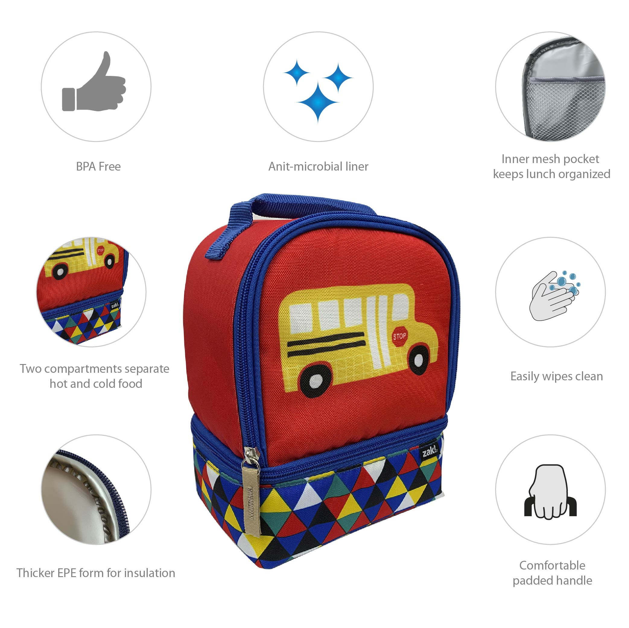 Grid Lock 2-compartment Reusable Insulated Lunch Bag, Buses slideshow image 5