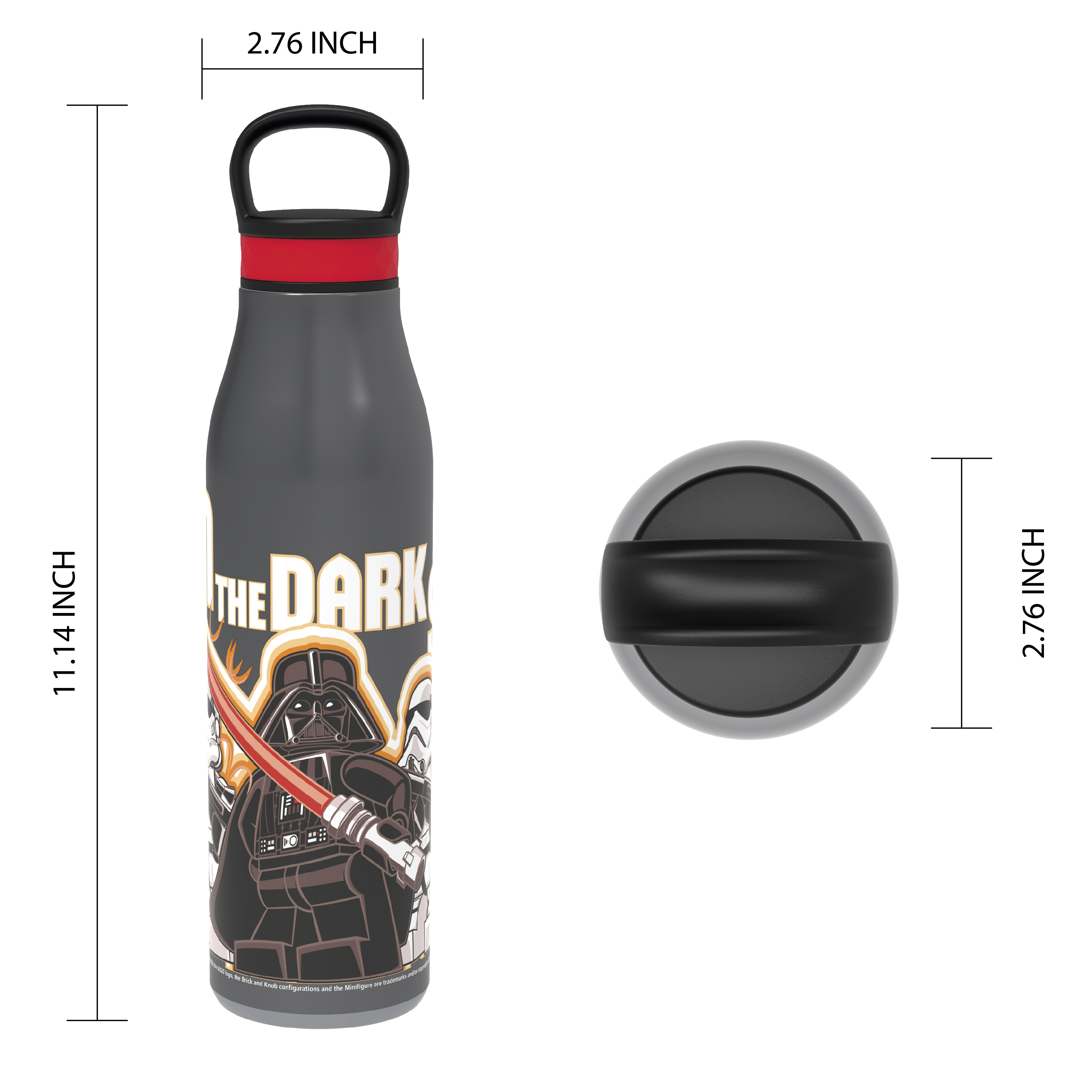 Lego Star Wars 20 ounce Stainless Steel Vacuum Insulated Water Bottle, Darth Vader and Stormtroopers slideshow image 6