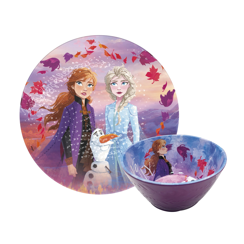 Disney Frozen 2 Movie Kids 9-inch Plate and 6-inch Bowl Set, Anna and Elsa, 2-piece set slideshow image 1