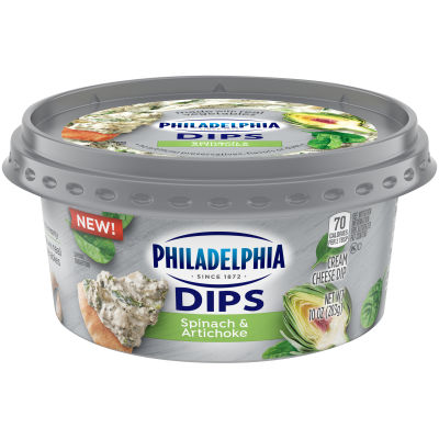 Philadelphia Dips Spinach Artichoke Cream Cheese Spread & Dip, 10 oz Tub