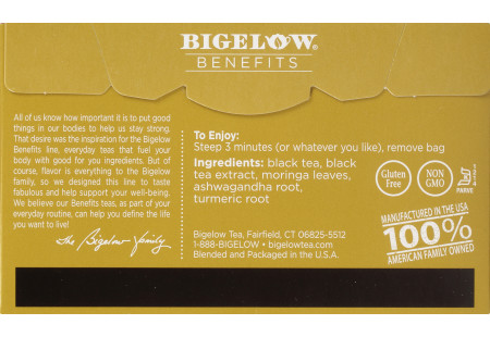 Back of Bigelow Benefits Moringa and Black Tea box