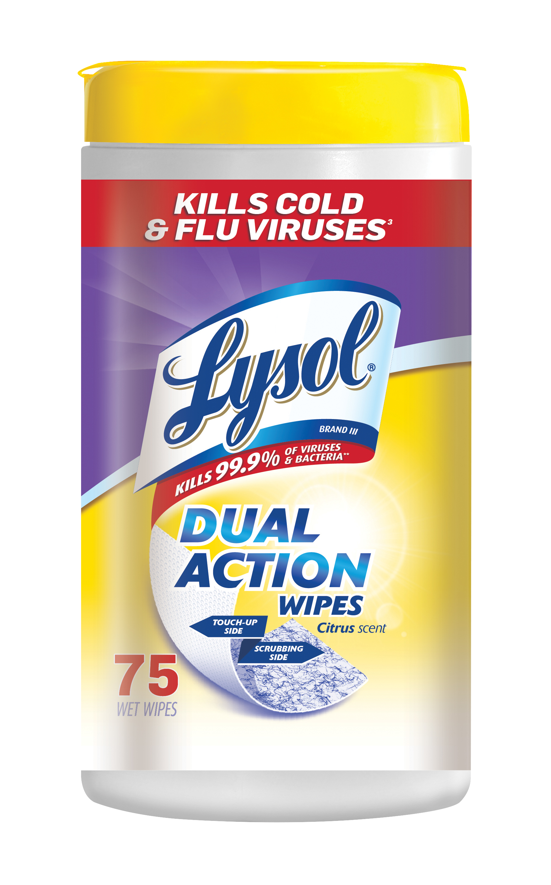 Lysol Dual Action Disinfecting Wipes, Citrus, 75ct