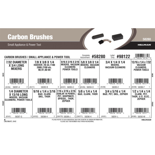 Carbon Brushes Assortment (For Small Appliances & Power Tools)