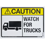 "Caution Watch For Trucks Sign (10"" x 14"")"