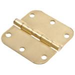 """Hardware Essentials 5/8"""" Round Corner Satin Brass Door Hinges (3"""")"""
