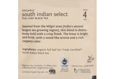 steep cafe by Bigelow organic full leaf south indian select black tea pyramid bag in overwrap - ingredient list