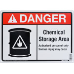 "Aluminum Chemical Storage Area Danger Sign 10"" x 14"""