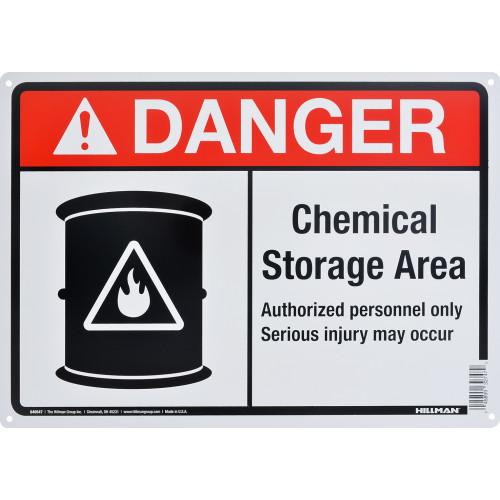 Aluminum Chemical Storage Area Danger Sign 10
