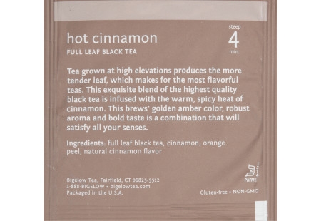 steep cafe by Bigelow full leaf hot cinnamon black tea pyramid bag in overwrap - ingredient list