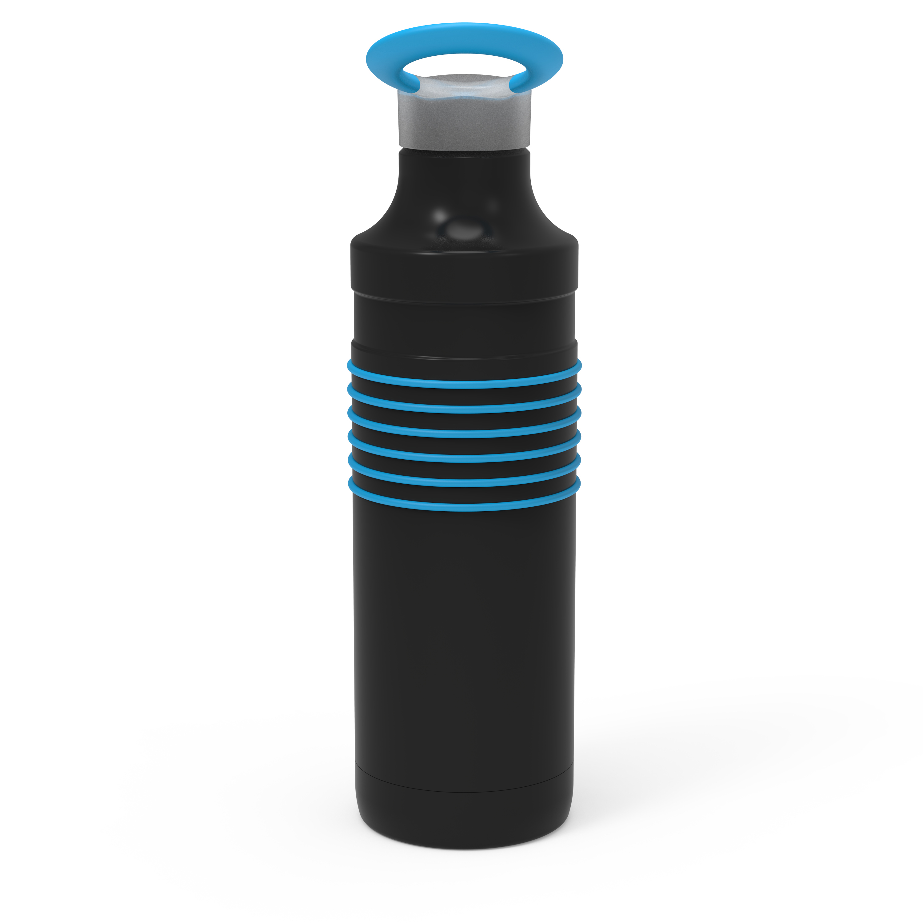 HydraTrak 22 ounce Vacuum Insulated Stainless Steel Tumbler, Black with Blue Rings slideshow image 8