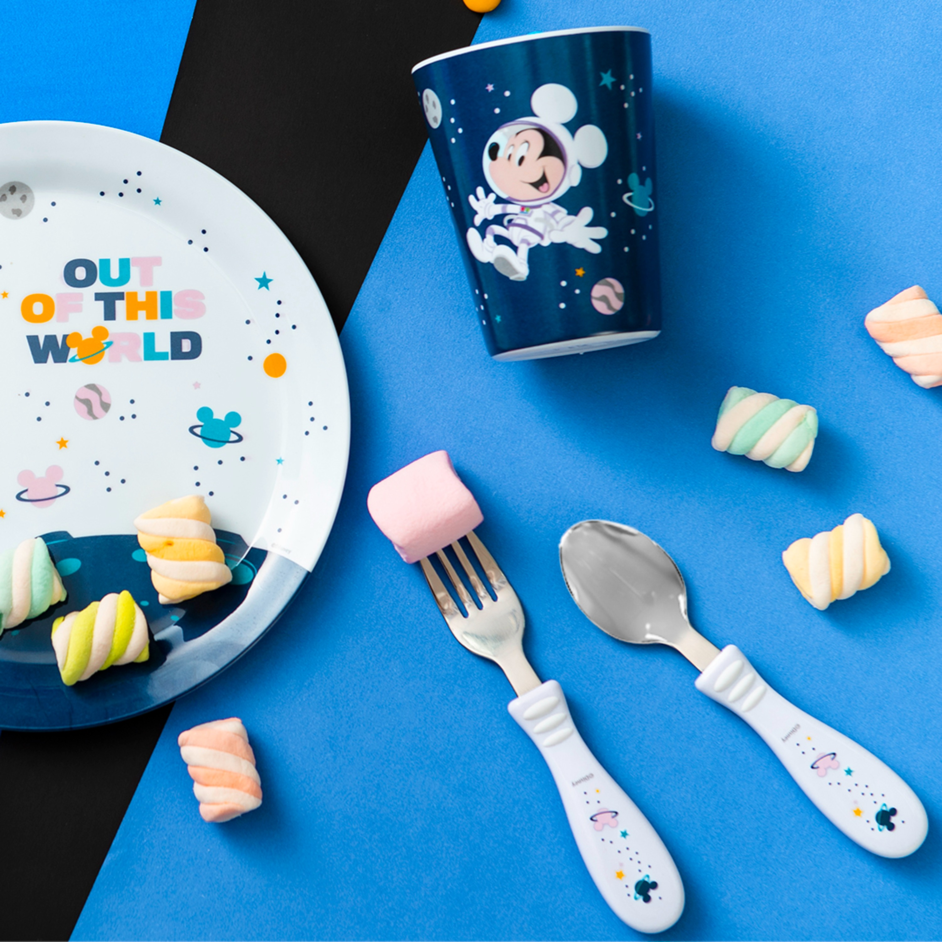 Disney Plate, Bowl, Tumbler and Flatware Set, Outer Space Mickey Mouse, 5-piece set slideshow image 2